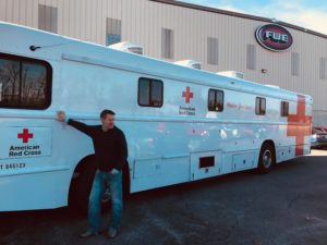 American Red Cross Blood Drive Bus at FWE shown with FWE President Deron Lichte